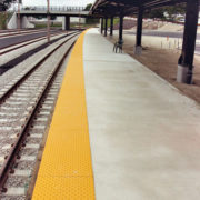 Yellow Transit Detectable Warning System on Floor
