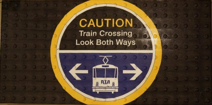 Caution Train Crossing Graphic Tile