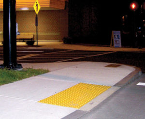 Cast in Place Tactile Product on Side Walk