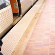 Yellow Tactile Warning Surface Near Transit Train