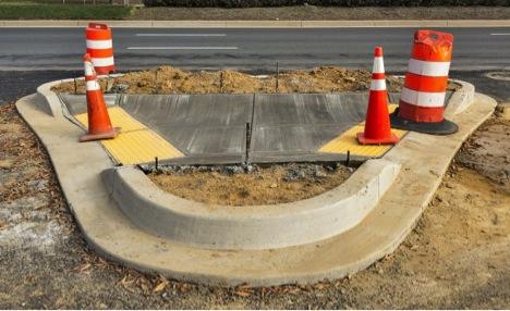 detectable warning surface on sidewalk