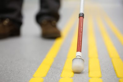 Blind pedestrian walking and detecting markings on tactile paving