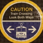 caution train crossing look both ways Sign