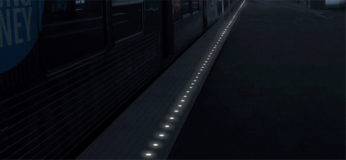 Detectable Warning Surface in Subway With LED Lights
