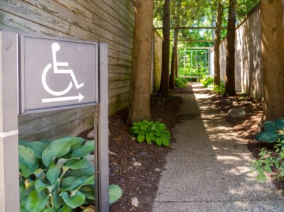 ADA Compliant Handicap disability signs with symbol in park