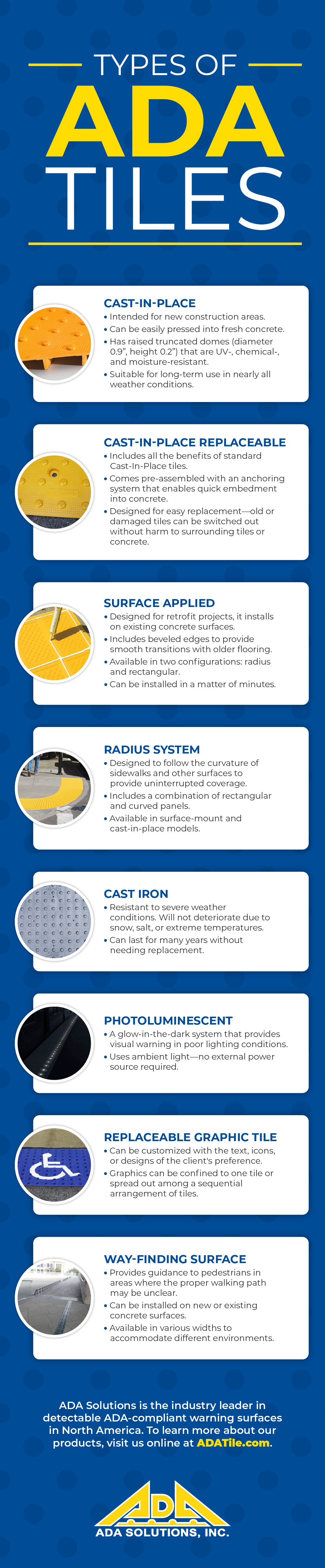 Different Types of ADA Tiles (Infographic)
