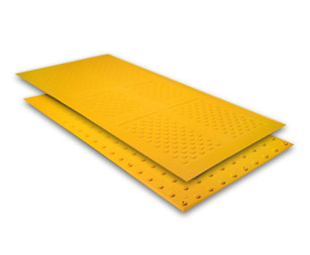 yellow surface applied warning tiles
