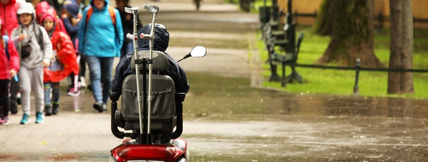 man in a mechanical wheelchair is passing by the alee of the park